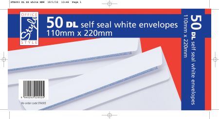 Office Style 50 Self Seal DL White Envelopes 110mm x 220mm 80gsm