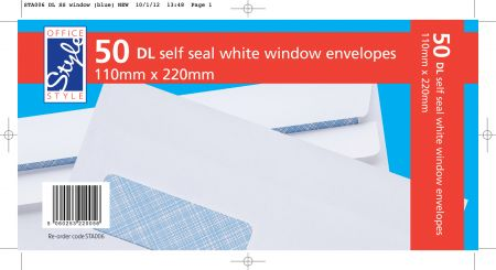 Office Style 50 White DL Window Envelopes Self Seal 110mm x 220mm 80gsm