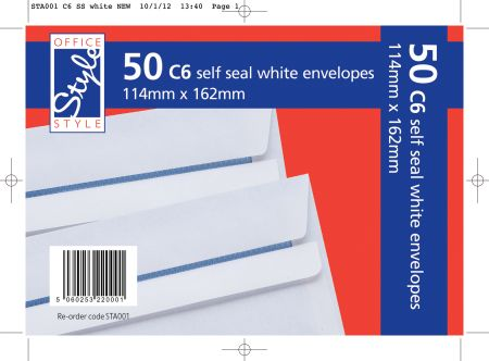 Office Style 50 Self Seal C6 White Envelopes 114mm x 162mm 80gsm