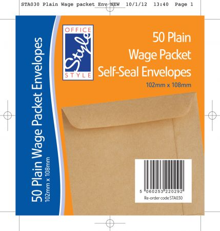 Office Style 50 Plain Wage Packet Self Seal Envelopes 102mm x 108mm