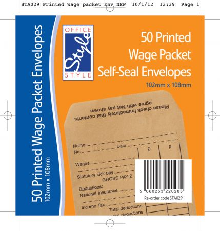 Office Style 50 Printed Wage Packet Self Seal Envelopes 103mm x 108mm