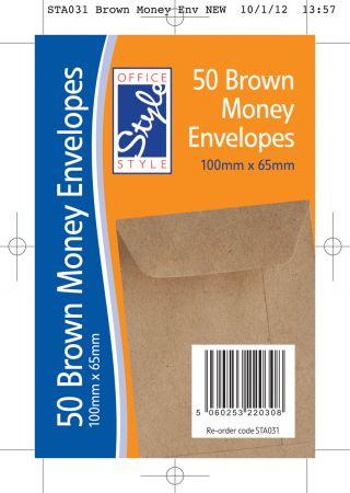 Office Style 50 Brown Dinner Money Envelopes 100mm x 65mm