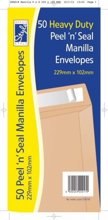 Office Style 50 Peel n Seal Manilla Envelopes 229mm x 102mm