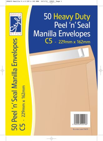 Office Style 50 Peel n Seal C5 Manilla Envelopes 229mm x 162mm