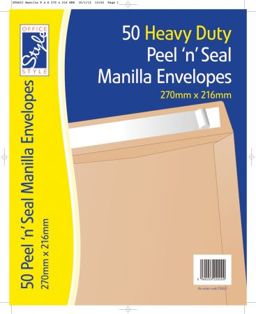Office Style 50 Peel n Seal Manilla Envelopes 270mm x 216mm