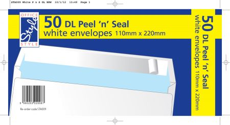 Office Style 50 Peel n Seal DL White Envelopes 110mm x 220mm 80gsm
