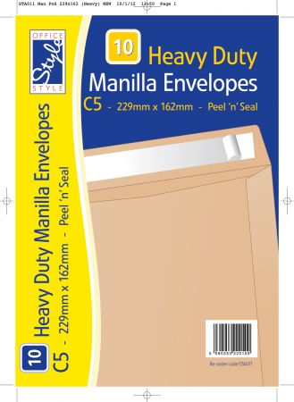 Office Style 10 Peel n Seal C5 Manilla Envelopes 229mm x 162mm 115gsm