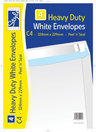 Office Style 4 Peel n Seal C4 White Envelopes 324mm x229mm 110gsm
