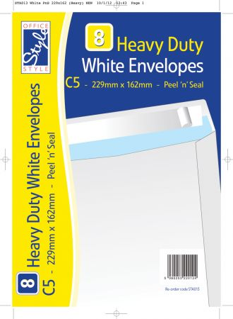 Office Style 8 Peel n Seal C5 White Envelopes 229mm x 162mm 110gsm