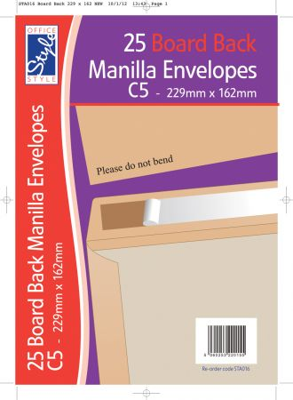 Office Style 25 Board Back C5 Manilla Envelopes 229mm x 162mm