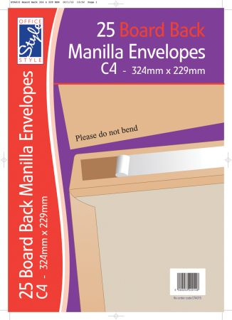 Office Style 25 Board Back C4 Manilla Envelopes 324mm x 229mm