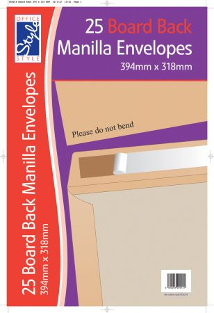 Office Style 25 Board Back Manilla Envelopes 394mm x 318mm