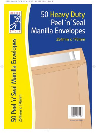 Office Style 50 Peel n Seal Manilla Envelopes 254mm x 178mm