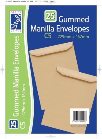 Office Style 25 Gummed C5 Manilla Envelopes 229mm x 162mm 80gsm
