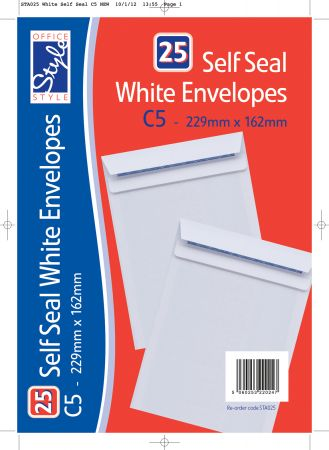 Office Style 25 Self Seal White C5 Envelopes 229mm x 162mm 90gsm