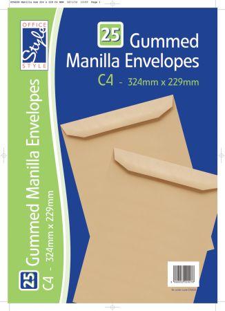 Office Style 25 Gummed Manilla C4 Envelopes 324mm x 229mm 80gsm