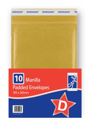 Office Style Padded Envelopes Gold D - 180 x 265mm