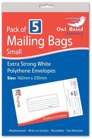 Owl Brand 5 Mailing Bags - Small (162mm x 230mm) Hang Pack