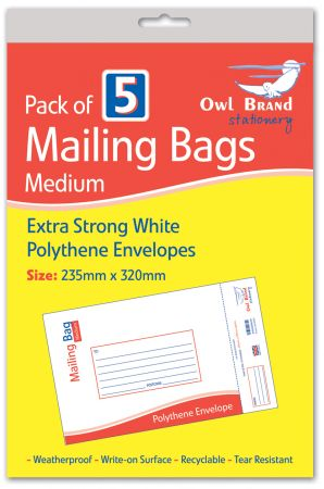 Owl Brand 5 Mailing Bags - Medium (235mm x 320mm) Hang Pack