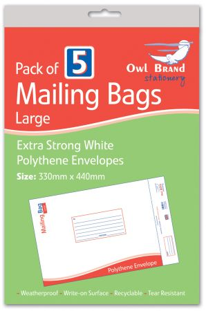 Owl Brand 5 Mailing Bags - Large (330mm x 440mm) Hang Pack
