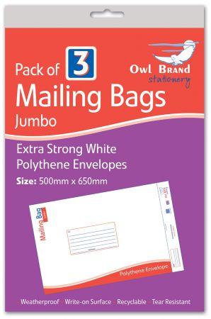 Owl Brand 3 Mailing Bags - Jumbo (500mm x 650mm) Hang Pack