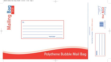 Owl Brand Polythene Bubble Mail Bag Small 170mm 260mm