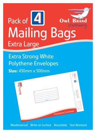 Owl Brand 4 Mailing Bags - Extra Large (430mm x 500mm) Hang Pack