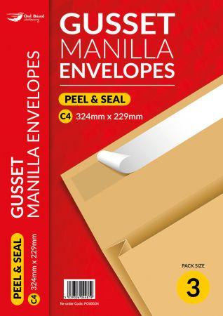 3 Pack Gusset Envelope C4 120gsm