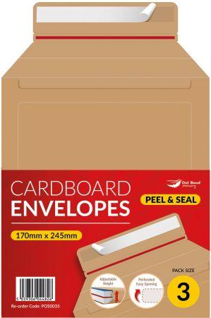 3 Pack Cardboard Adjustable Envelope 245mm x 170mm