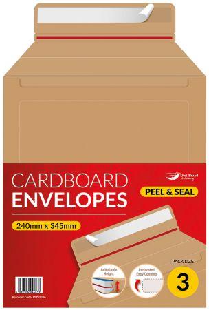 3 Pack Cardboard Adjustable Envelope 345mm x 245mm