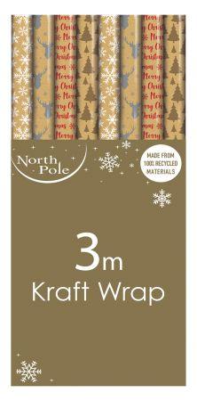 3m Kraft Gift Wrap Roll CDU