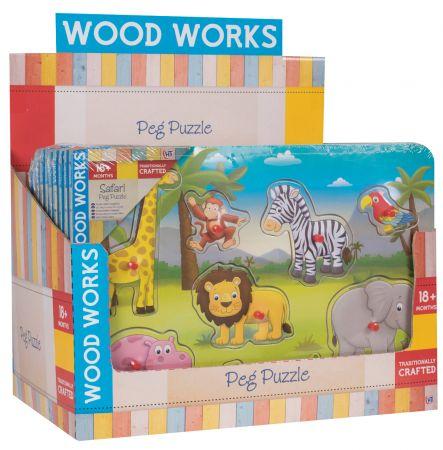 Safari & Farm Wood Peg Puzzle CDU