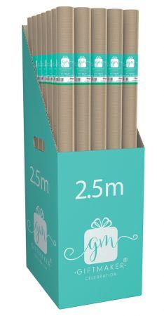 70cm x 2.5m Kraft Wrapping Paper Roll CDU