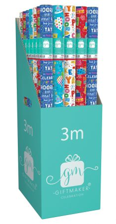 3m Gift Wrap Roll Happy Birthday Assortment CDU