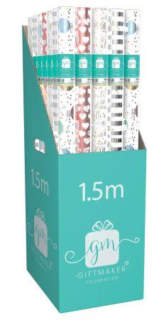 1.5m Gift Wrap Roll Celebration Foil Assortment CDU