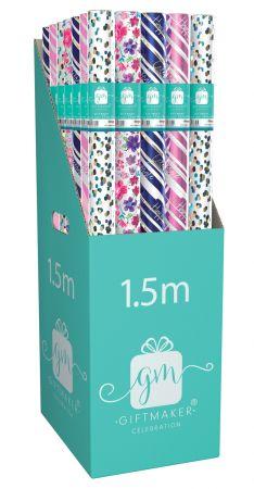 1.5m Gift Wrap Roll Male & Female Foil Assortment CDU