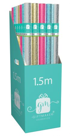 1.5m Gift Wrap Roll Holograhic Colourwash Assortment CDU