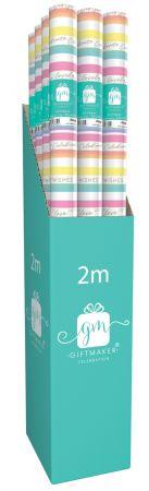 2m Gift Wrap Roll Colourful Stripe CDU