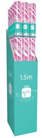 1.5m Foil Gift Wrap Roll Female Pink  CDU