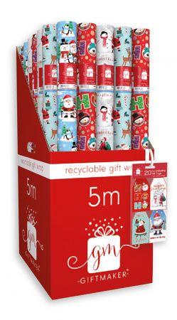 5m Santa & Friends Gift Wrap Roll CDU