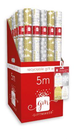 5m Mixed Metallics Gift Wrap Roll CDU