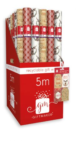5m Contemporary Traditional Gift Wrap Roll CDU
