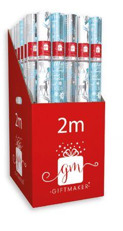 2m Foil Elegant Ice Gift Wrap Roll CDU