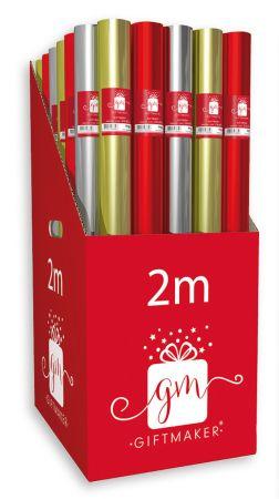 2m Mixed Plain Foil Gift Wrap Roll