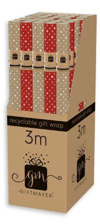 3m Kraft Stars Gift Wrap Roll CDU