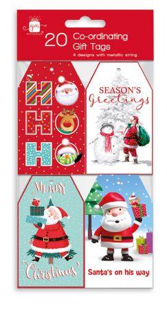 20 Santa & Friends Co-ordinating Gift Tags Hang