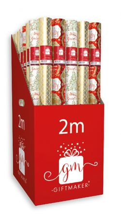 2m Foil Christmas Traditions Gift Wrap Roll  CDU