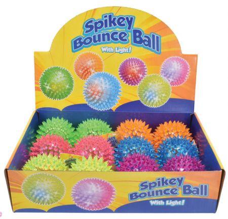 77mm Light Up Spikey Ball Asst CDU