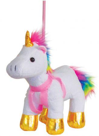 Plush Rainbow Unicorn on a Lead Asst