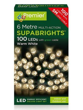 100 Multi Action LED Supabrights Warm White Lights